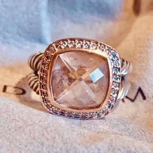 David Yurman Jewelry - David Yurman 11mm morganite/diamond ring 11mm sz9